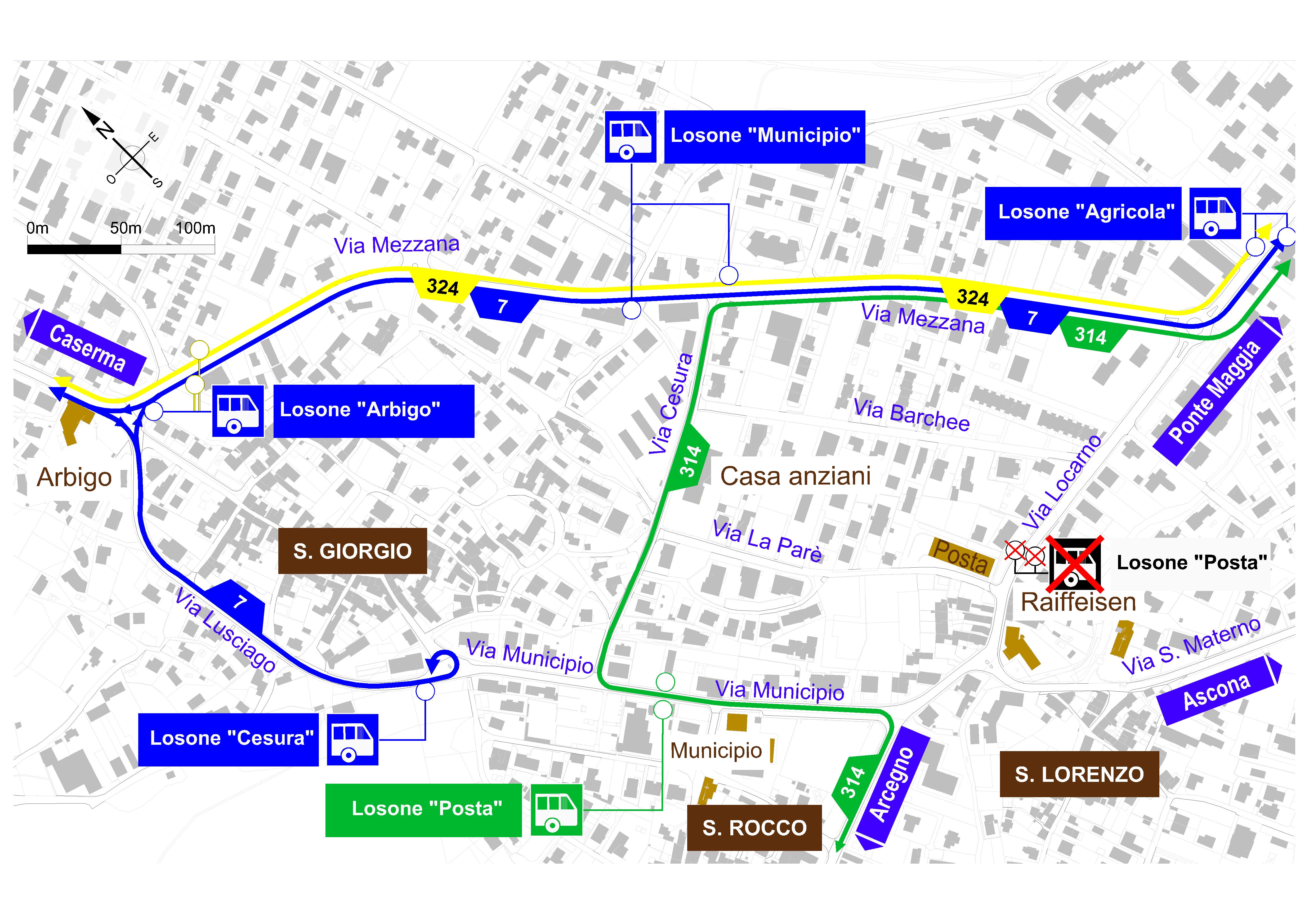 Mappa delle deviazioni del trasporto pubblico