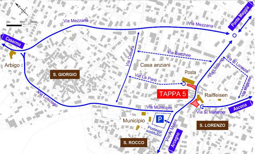 Mappa dei lavori stradali a Losone