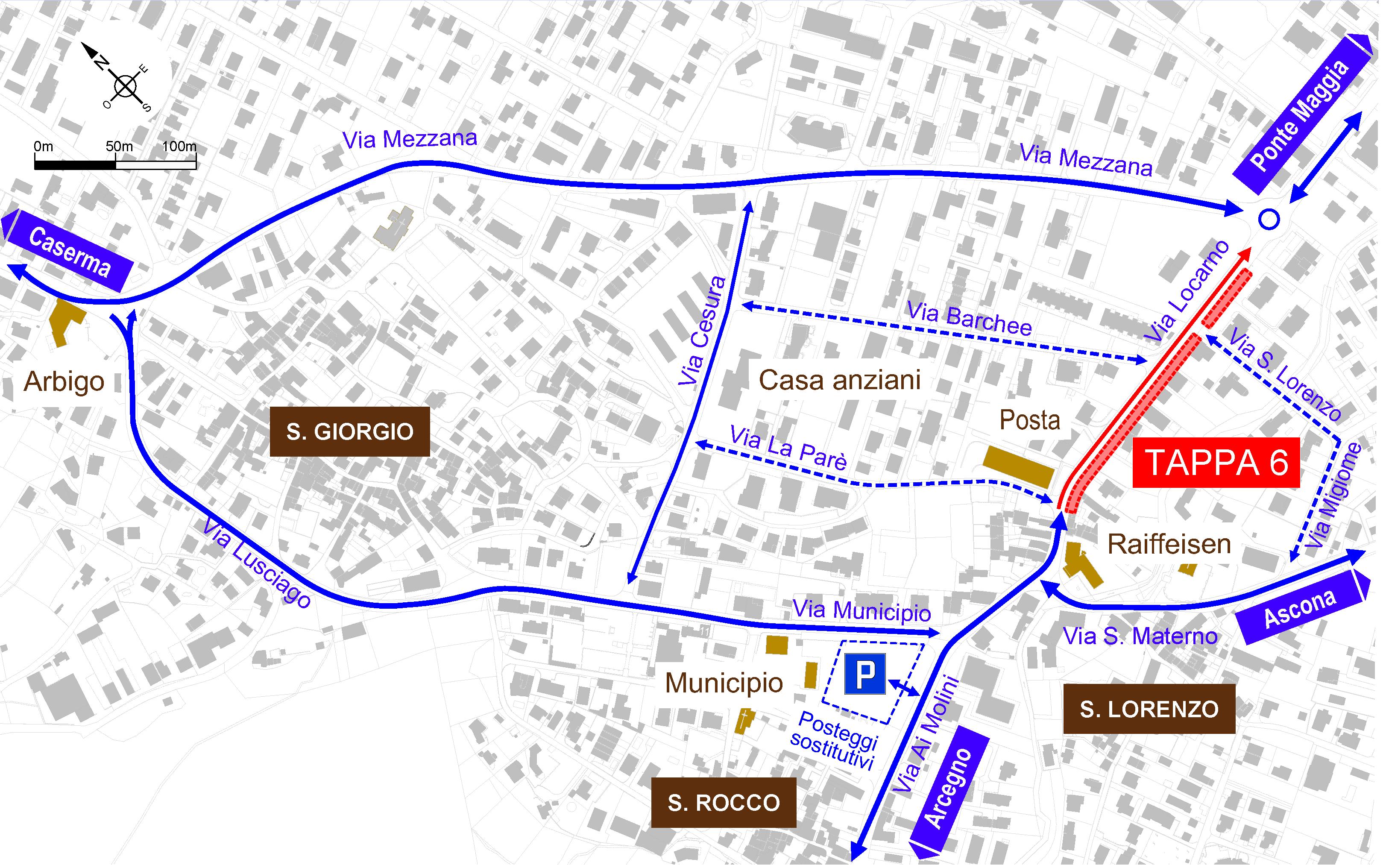 Mappa cantiere Via Locarno - Tappa 6