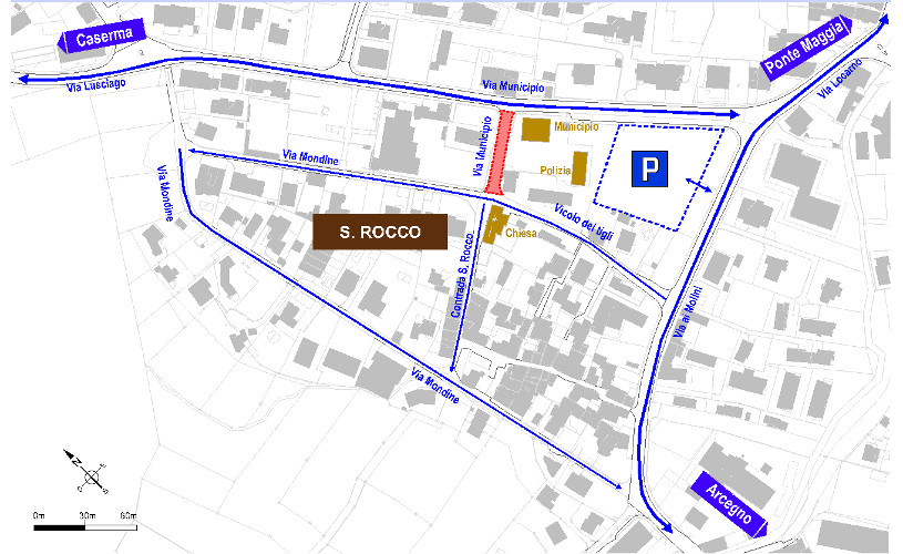 Mappa dei cambiamenti della circolazione in Via Municipio per i cantieri.