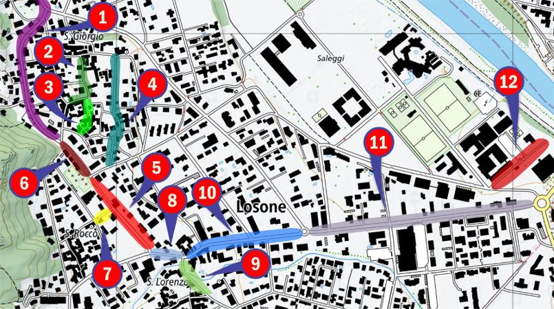 I lavori stradali a Losone previsti per il 2018-2019.