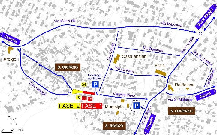 Mappa dei cambiamenti di traffico per i cantieri in Via Municipio.