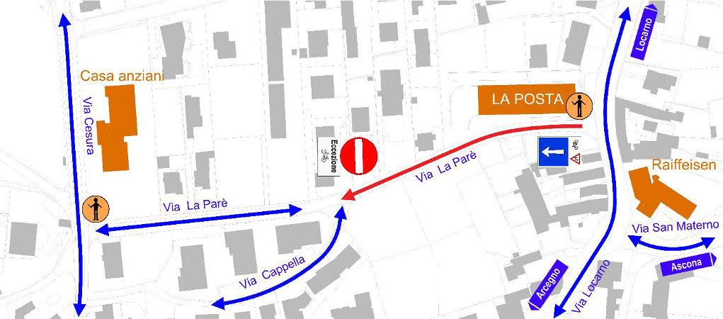 La mappa della nuova circolazione a senso unico in Via La Paré.