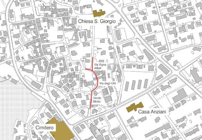 Mappa dei lavori stradali nel nucleo di San Giorgio.