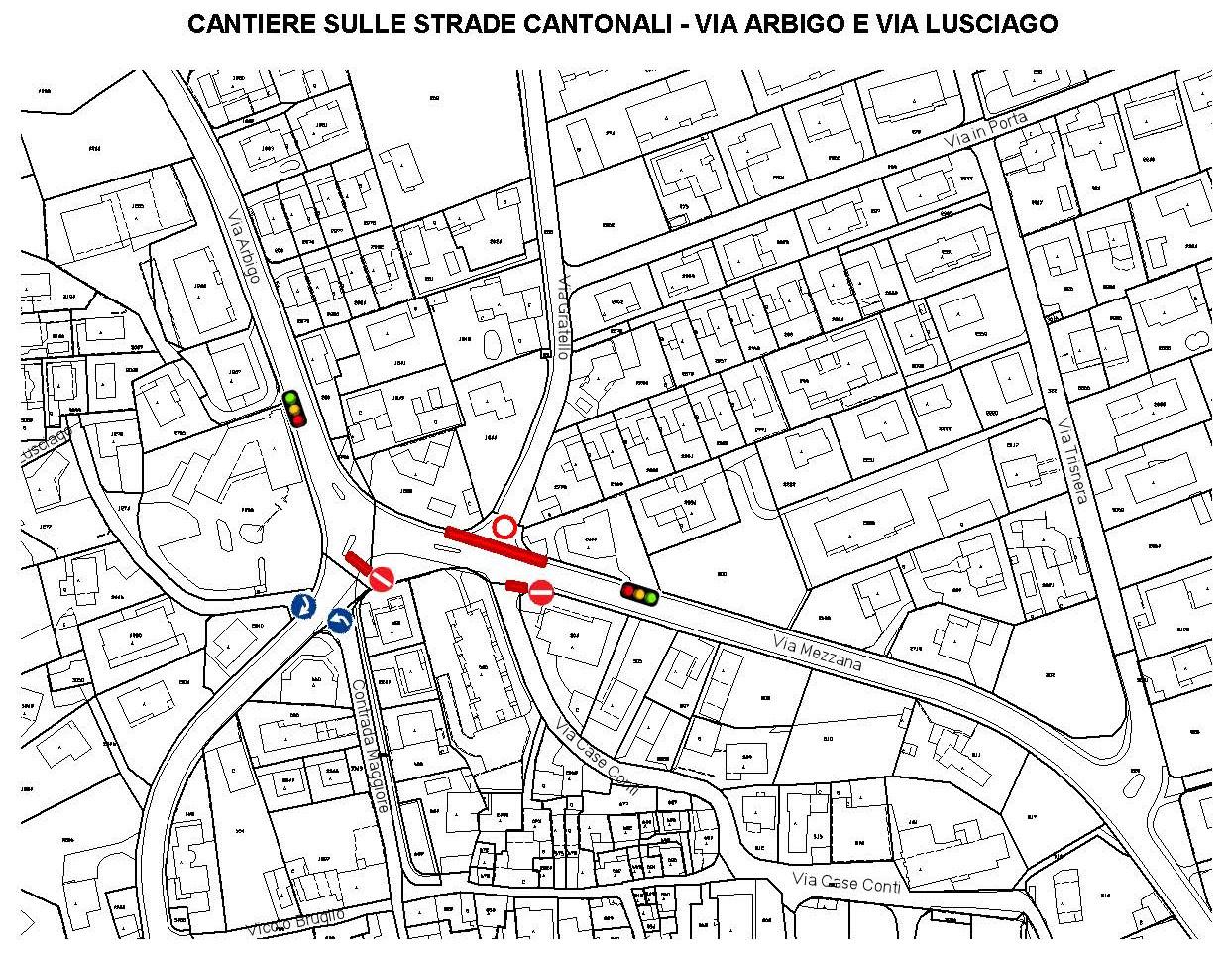 La mappa dei lavori in Via Arbigo.