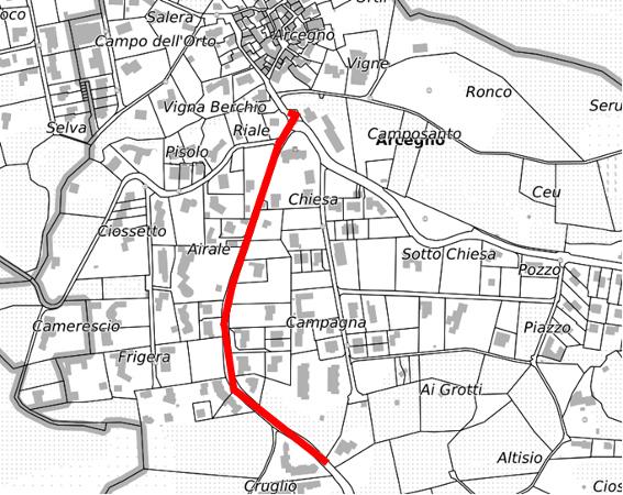 La mappa della zona cantiere sulla Via Ronco ad Arcegno.