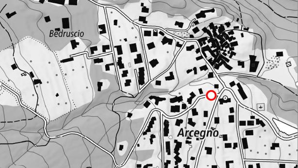 La mappa con indicato il punto di inizio del cantieri in Via Ronco ad Arcegno.
