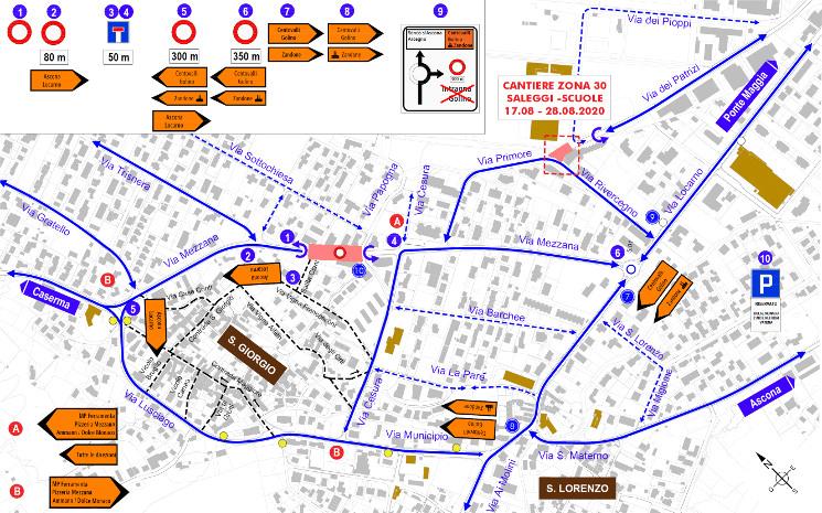 La mappa del cantiere in Via Mezzana.