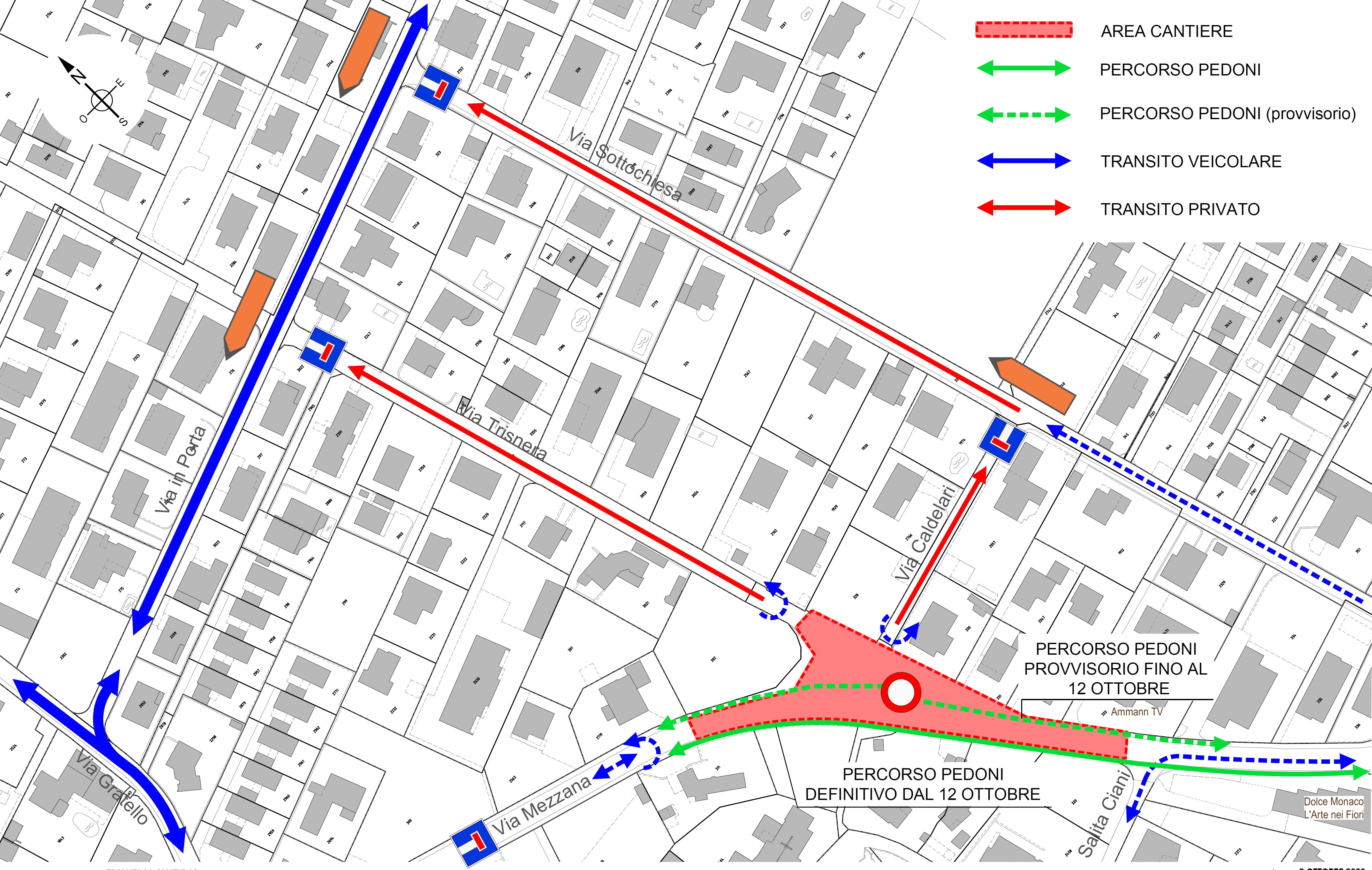 La mappa del cantiere in Via Mezzana all'incrocio con Via Trisnera e Via Don Caldelari.
