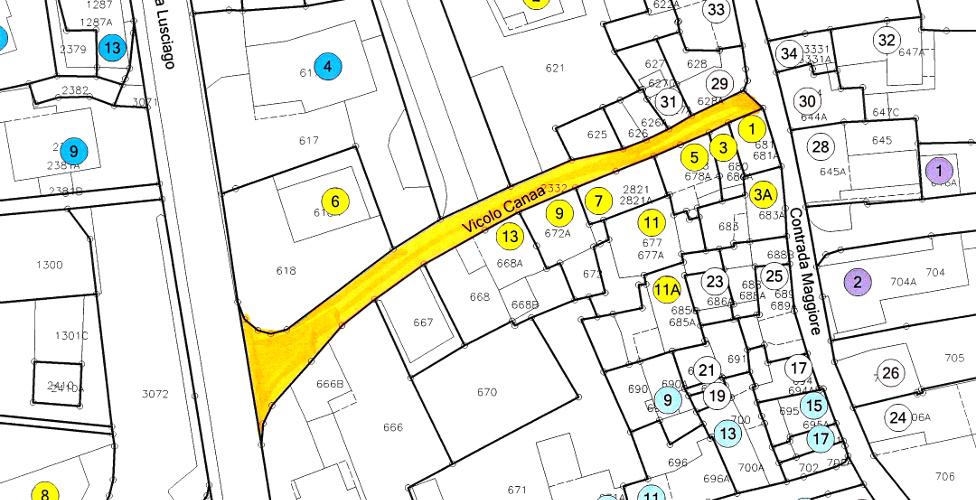 La mappa della tratta dei cantieri del Vicolo Canaa.