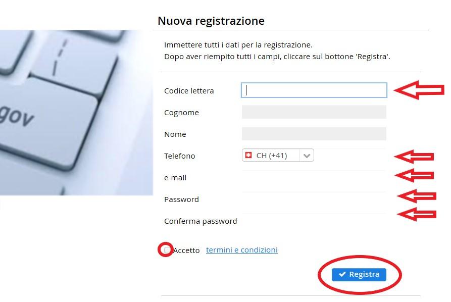 Schermata di una nuova registrazione per attività economica.