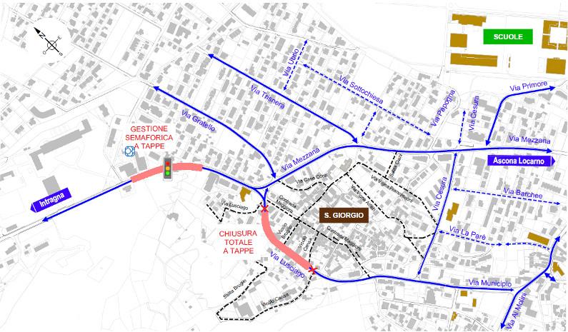 Mappa dei cantieri in Via Lusciago e Arbigo 2021.