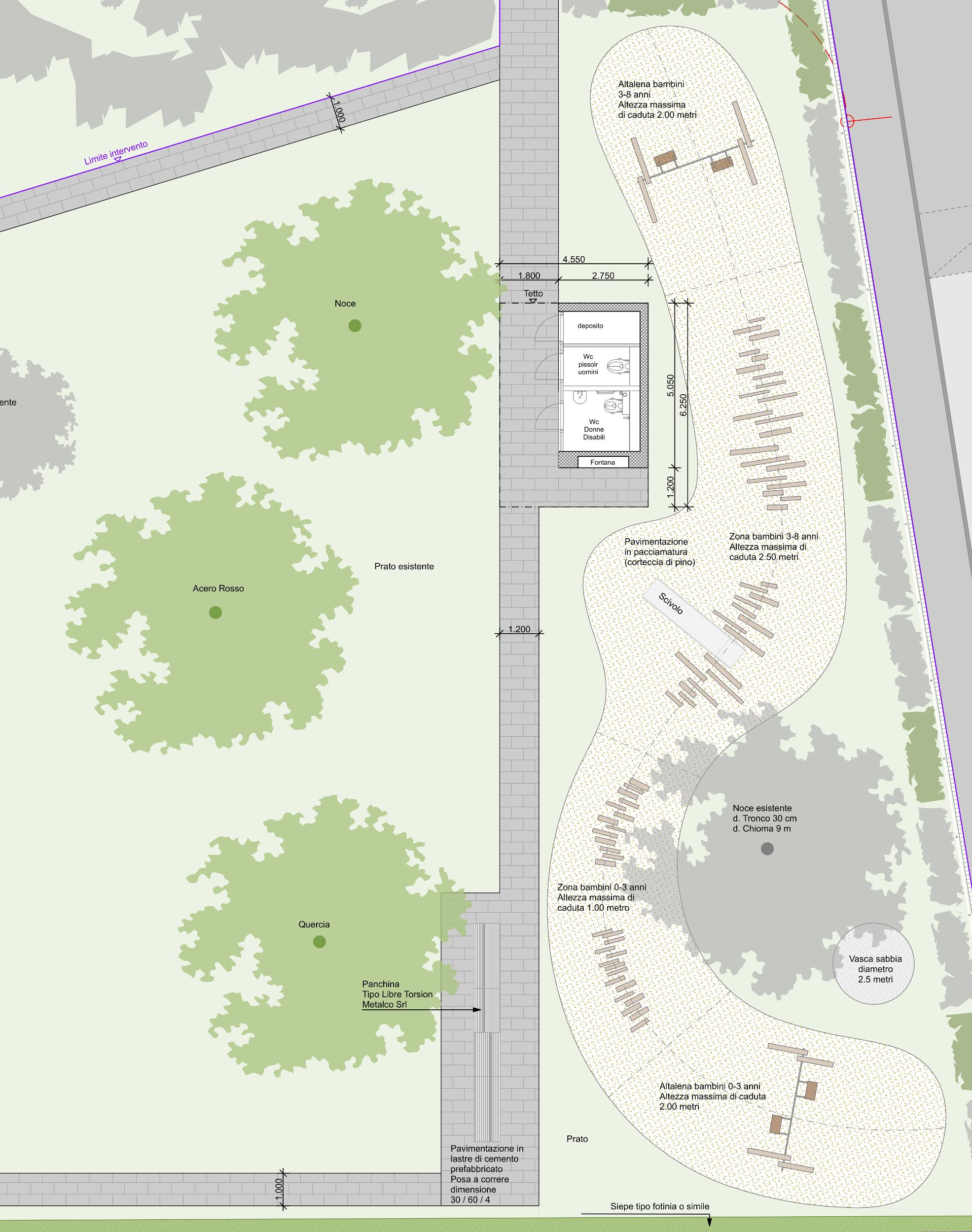 Il progetto del nuovo parco giochi in Via Cesura.