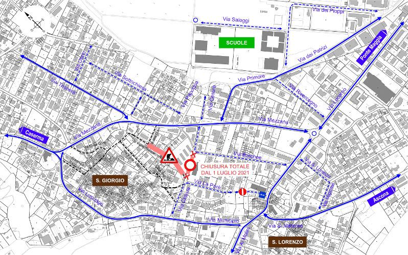 Mappa della zona di cantiere nel comparto di Via Cesura.
