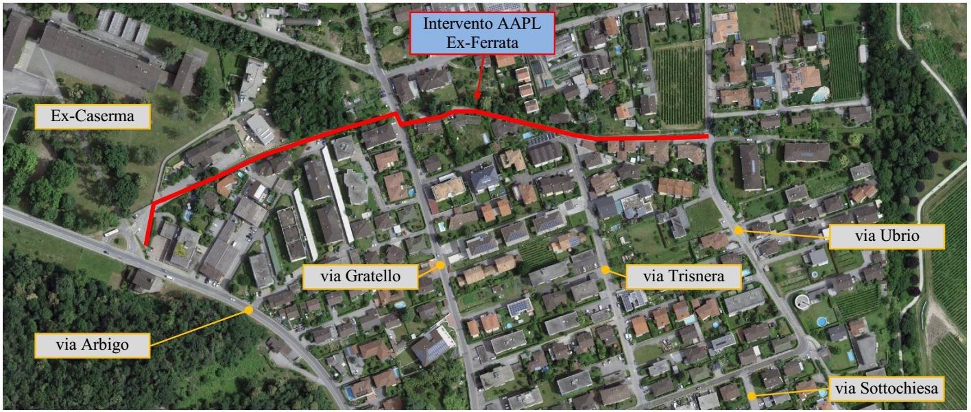 La tratta del Sentiero della Ferrata, dove si svolgerà il cantiere.