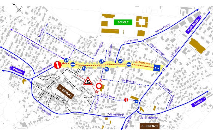 Dalla rotonda in Via Locarno fino a Via Trisnera sarà introdotto un senso unico del traffico.