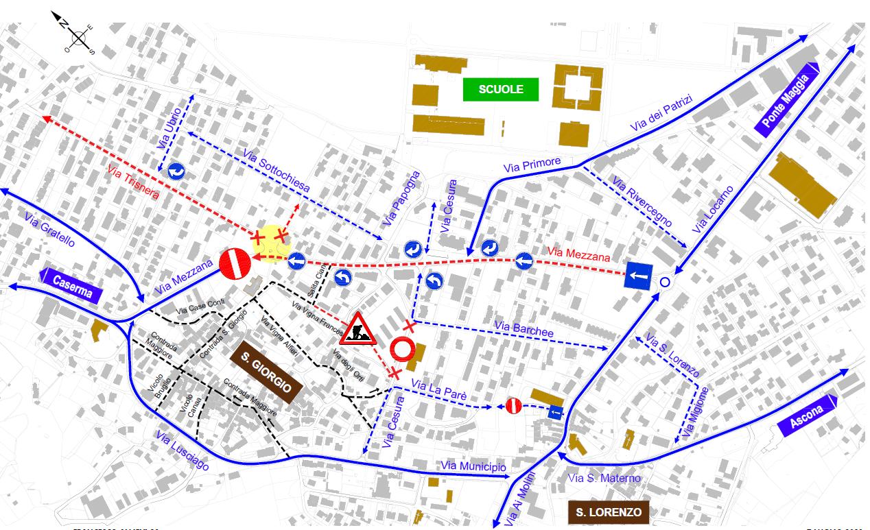 Mappa del cantiere in Via Mezzana, dove è indicato l'imbocco di Via Trisnera e Via Don S. Caldelari che resterà completamente chiuso al traffico.