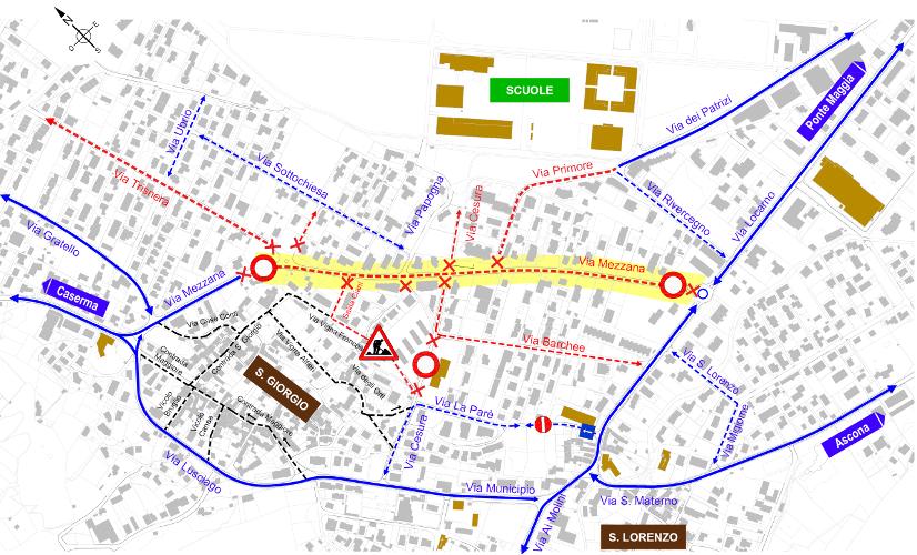 Mappa della chiusura totale di Via Mezzana per la posa dell'asfalto fonoassorbente.