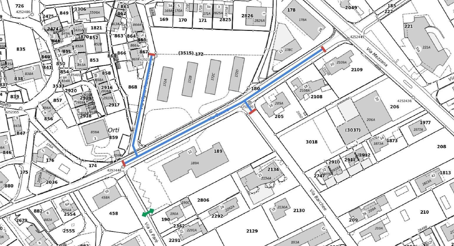 L'area del comparto Via Cesura toccata dal cantiere.